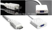 10pcs/lot HDMI To VGA Cable,HDMI To VGA Adapter,HDMI To VGA Converter,PP Plastic Bag ,White And Black