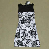 2014 brand new fashion sophisticated career casual sleeveless black white floral printed cotton dress for women plus size 5XL