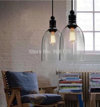 Modern Pendant Light Crystal Glass Bell Pendant Light Fixture Included 2 Pcs Edison Bulbs Used in Restaurant Bar +Free shipping!