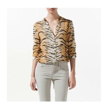 2013 HOT ITEM STRIPED COTTON CHIC SEXY LONG SLEEVE V-NECK TIGER PRINT SHIRT BLOUSE TOP WC-905(China (Mainland))
