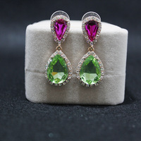 Free shipping new arrival 48 - 8 fashion accessories bright green rose gem candy color earrings green drop earring