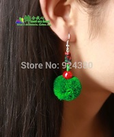 free ship  fuzzy ball ear drop handmade craft national trend jewelry plum vintage  party accessory