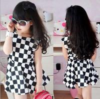 Free Shipping Baby Girls Black and White Geometric Plaid Dress Chiffon MINI Dress 100-140 5pcs/lot Hot Selling-1150