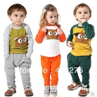 Brand Girls Boys clothing sets 2014 Kids Spring clothes New Fashion Baby sports set Square bear pocket style suits Free Shipping