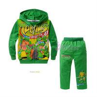 Free shippping 5sets/lot Autumn children clothing set/Baby boys Teenage Mutant Ninja Turtles set/Hoodie+Pants 2pcs set