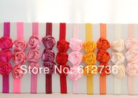 26pcs/lot Free Shipping 3 Rosettes Elastic Headband flower headband Fashion Hair Accessories Wholesale 26 Colors