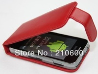 4color,High Quality leather case for Samsung Ace 5830 100%Real cowhide cover,Free shipping