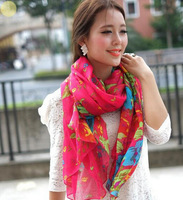 YBB Wholesale 160cmx50cm Garden Floral Flowers Are Blooming Flower Rectangular Floral Scarf Voile Shawl C095
