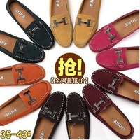 Genuine leather women casual shoes flat loafers flat heel gommini women's plus size shoes 40 - 43 women's single shoes
