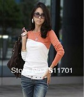 Hot Hot 2013 Women's T-Shirt Splice Casual O-Neck Long Sleeve T-Shirt 5 Colors