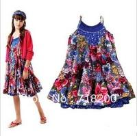 100%cotton girls summer fashion floral dress flower printed sundress kids dress children clothing