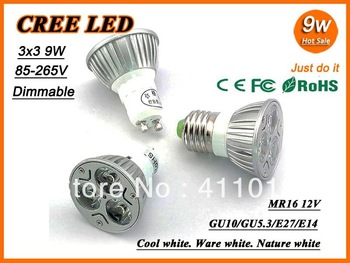 Ultra bright LED bulb CREE dimmable 9W 85-265V replace 40W GU10 MR16 E27 GU5.3 E14 B22 Led Light Lamp Spotlight led downlight