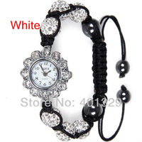 Free shipping! Wholesale Shamballa Bracelet watches Shamballa Micro Pave CZ Crystal Disco Ball, Gift Battery