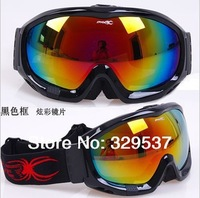 2014 New style Free shipping Upgraded version of spider double-layer anti-fog windproof mirror spherical lens ski goggles