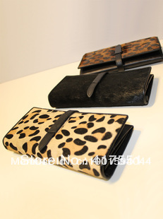 Free shipping wallets genuine leather bag for women cowhide black horsehair leopard clutch long design drawstring women's wallet