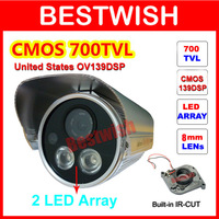 Special offer CMOS 700tvl IR-CUT Filter 2 LED Array  Indoor/Outdoor Waterproof Video Security CCTV Camera With Bracket