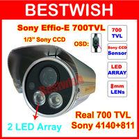 "700TVL 2 LED Array IR Nightvision 50M 1/3""Sony Effio-e OSD menu Indoor/Outdoor security IR CCTV Camera with bracket Freeshipping"