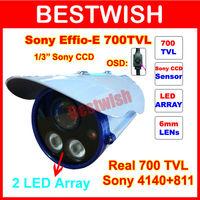 "Freeshipping Wholesale 2 Array LED 1/3""Sony CCD Effio-e 700TVL IR Night Vision Security CCTV Camera With OSD Menu And Bracket"
