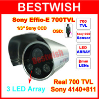 "Special offer  700TVL 3 LED Array  1/3""Sony Effio-e OSD menu Indoor/Outdoor security IR CCTV Camera with bracket. free shipping"