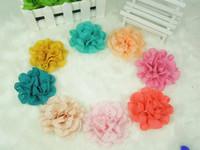 Wholesale - 3''Flowers Eyelet chiffon lace flower flat back headband flower DIY Photography props 40pcs/lot