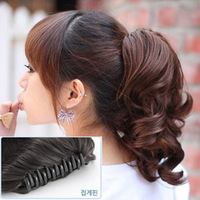 NEW Fashion Womens Girls Hairpiece Short Wavy Curly Claw Ponytail Clip-on Hair Extensions Accessories 4 Colors U-pick J46