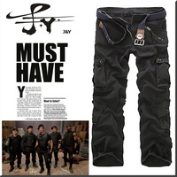 Free shipping 2013 New military uniform pants Multi-pocket washed men's overalls loose cotton pants military cargo