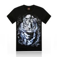Free Shipping fashion tops summer 3D tiger print men T-shirts,o-neck t shirts men tees men's t shirt cotton men's T shirts,KT024