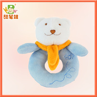 Cute design plush bear toy soft bear rattle toy for babies 2colors
