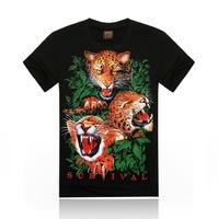 Free Shipping fashion tops summer 3D leopard print men T-shirts,o-neck t shirts men's t shirt cotton men's T shirts,KT052