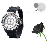 Fashion casual silicone watchband women's watch vintage large dial jelly rhinestone table