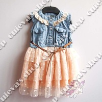5pcs/lot (2-8t) Wholesale Summer New Fashion Baby Dresses for Girls Denim Dress Belt Lace Dress Tutu Brand Free Shipping