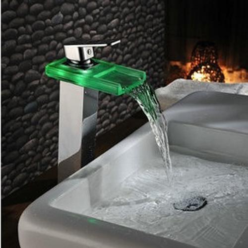 Torneira da pia de vidro led color change toque cachoeira chrome led monocoma -> Casas Da Agua Pia De Banheiro