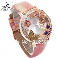 NEW Smays Butterfly Crystal Leather Band Round lady Fashion Watch, Luxury, Good quality, pink , Quartz Wrist Watch high quality