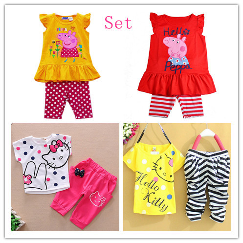 2014 NEW Free shipping the new 1 PCS boys and girls kitty set wear short-sleeved summer clothing t shirt+ pants(China (Mainland))