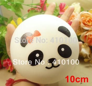 B002 10 cm Cute panda Squishy Buns Bread Charms, Squishies Cell Phone Straps, Wholesale Free shipping