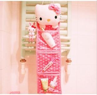 Kawaii Polka Dots Pink Hello Kitty Plush Long Slung Storage Bag/Hanging Bag,Home Decor Novelty Item Retail KCS