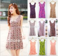 Styleonme 2014 Summer Bohemia  maxi  small flower dress Warehouse Exposed Back Dress free shipping