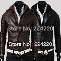 Free shipping South Korea many zipper pu leather coat male leather jacket water locomotive fur clothing Fleece collar M-XXL