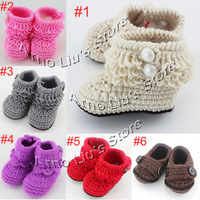 Handmade Crochet Baby Snow Booties Loops Design First Walker Shoes Cotton Yarn Mix Design Custom 10pairs/lot XZ010
