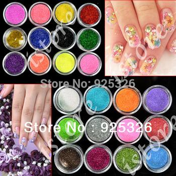 2013 Fashion 24 Colors Metal Shiny Glitter decorations Nail Art Tool Kit Acrylic UV nail Powder Dust Stamp 3069