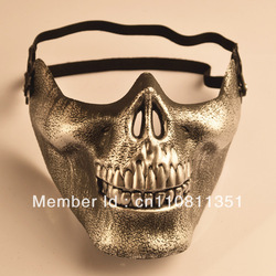 Free shipping (10pcs/lot) PVC Skeleton Skull half face Halloween Party Sport Protector mask(China (Mainland))