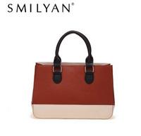Free shipping! Smilyan 2014 new fashion contrast color genuine leather women handbag vintage genten lady shoulder bag women bags