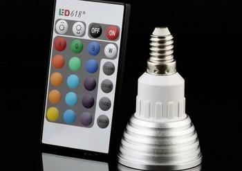 Retail Cheaper!!! 3W MR16 E27 GU10 E14 B22 RGB LED Light Remote Control 16 Colors RGB LED Lamp Bulb LED Lighting