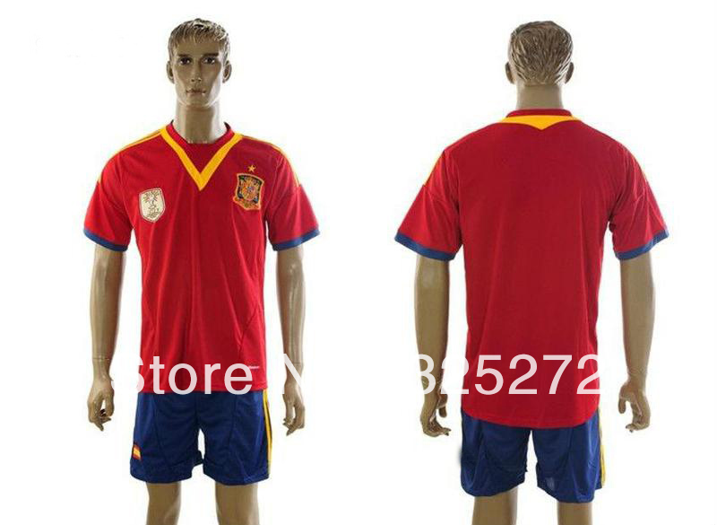 New Arrival 13/14 Spain Home mens Red Soccer Jersey shirt and shorts ,football kits+Embroidery Logo Soccer Uniforms(China (Mainland))
