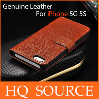 Wholesale - 10pcs/lot 5 5s genuine leather Case Lichee Pattern flip Leather Case For iPhone 5G 5S free shipping