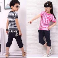 hot selling retail cotton kids boy and girl summer suit striped t-shirt + marine design pants 2pcs clothing set 2colors