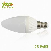Free shipping wholesale 300lm high power 1w  E14 3W led non-dimmable Ceramic candle lights