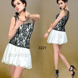 "Square Neckline Lace Satin Black Cream Cocktail Dress ""ever pretty""(China (Mainland))"