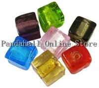 Lamp Work Beads,  Handmade Silver Foil Glass Beads,  Cube,  Mixed Color,  about 8mm wide,  8mm long,  8mm thick,  hole: 1.5mm
