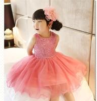Free Shipping(5pcs/lot)  Girls sequins gauze lace dress bling bling in sunshine fashion girl's sequin vest dresses